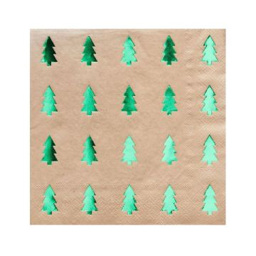 Green Tree Christmas Paper Party Napkins